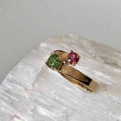 Pink and Green Maine Tourmaline 14KY Ring