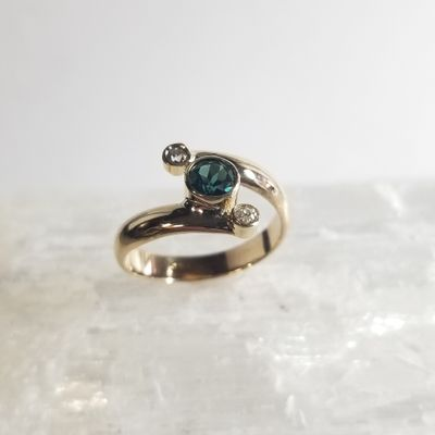Maine Tourmaline and Diamond Ring