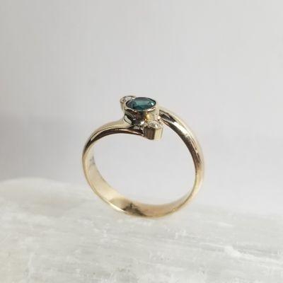 Maine Tourmaline and Diamond Ring