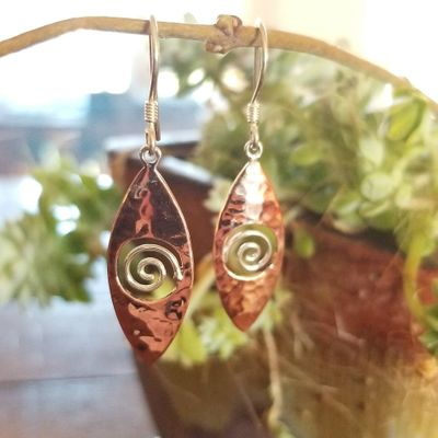 Copper and Silver Swirl Earrings