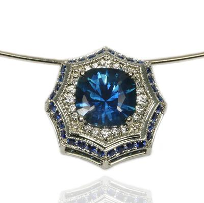 Montana Blue Sapphire and Diamond Pendant by Katzenbach Designs