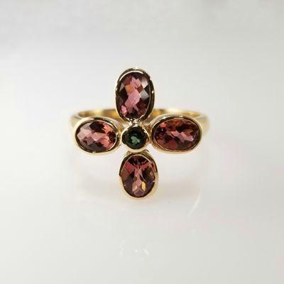 Maine Tourmaline Flower 14KY Ring