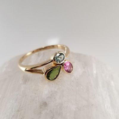 Three Stone Maine Tourmaline Ring