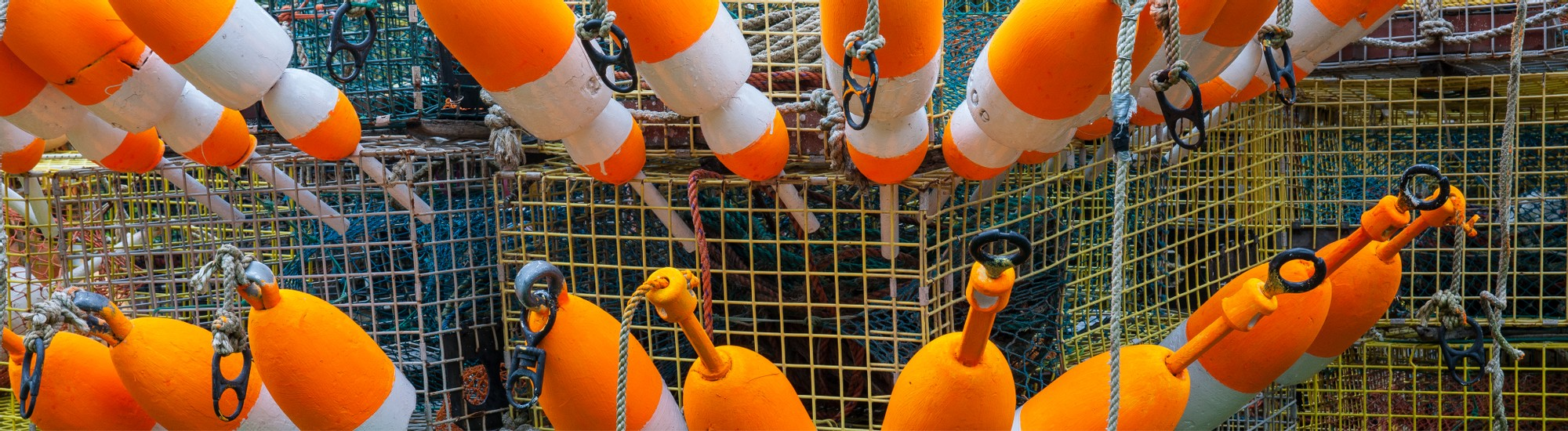 Lobster buoys and lobster traps