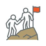 Icon of climbing to mountaintop