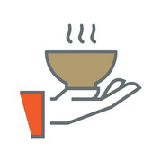 Icon of hand holding bowl of soup