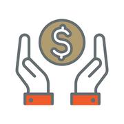 Icon of hands & money symbol