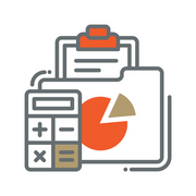 Icon of calculator & spreadsheet