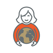 Icon of woman holding globe