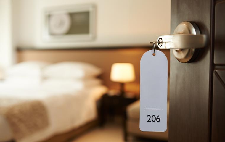 keys in door of a hotel room