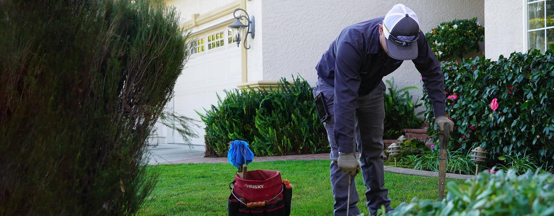 a pest technician treating for moles