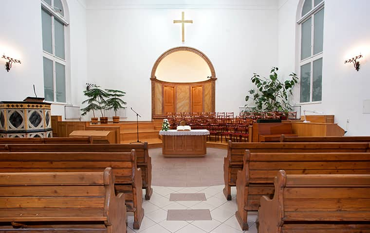the interior of a church in shawnee kansas