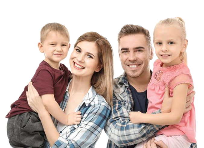 a happy family of four