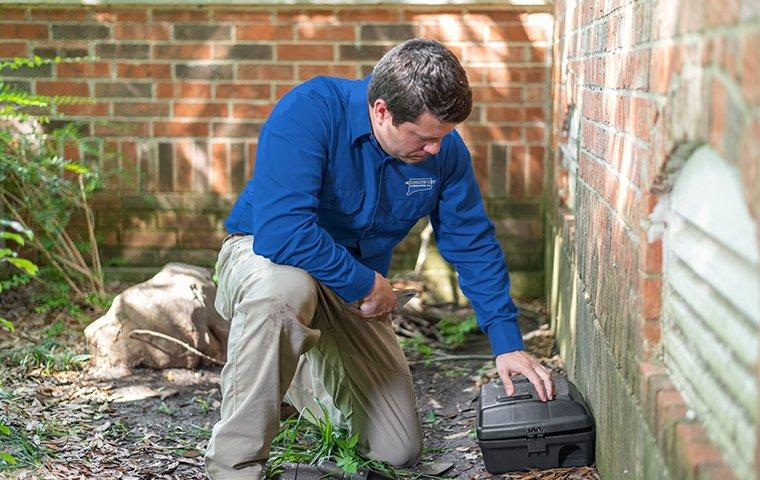 a pest technician checking a rodent trap outside of a home in fairfield connecticut