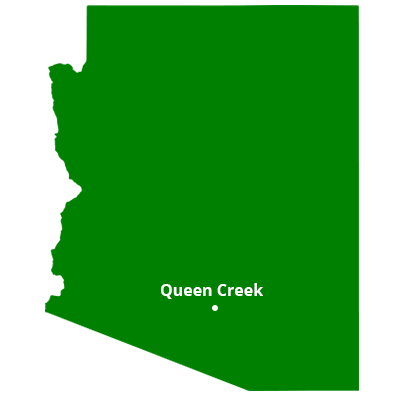 where we service map of arizona featuring queen creek
