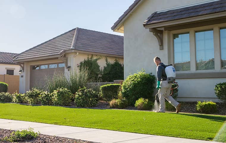 an all clear pest control technician servicing outside a gilbert arizona home