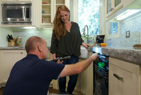 technician inspecting kitchen