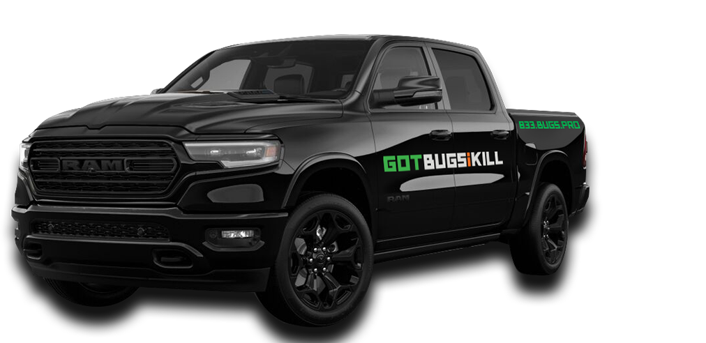 a pest control service vehicle for GOTBUGSIKILL with logo on the side, it is a black truck facing left