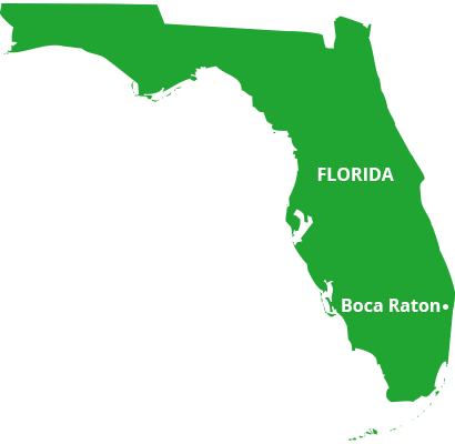 where we service map of florida featuring boca raton
