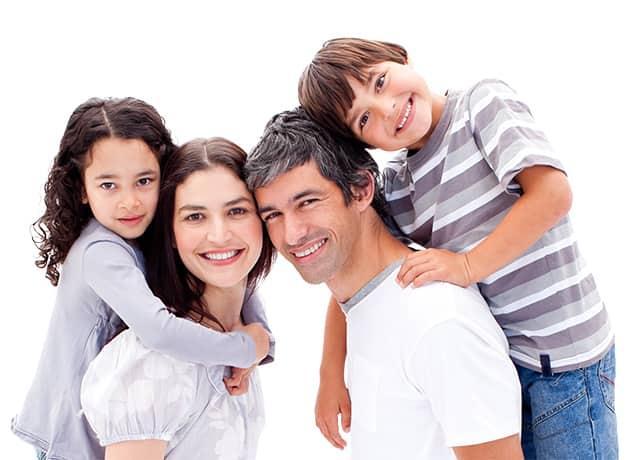 a happy family of four in boynton beach florida