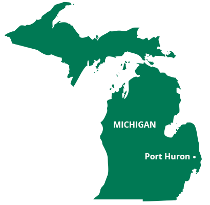 where we service map of michigan featuring port huron