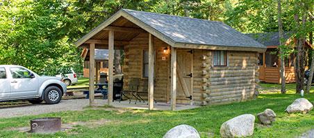 vacation cabin at smuggler's den campground in southwest harbor