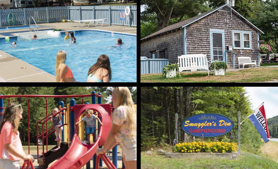 swimming pool, playground, island explorer bus stop at smuggler's den