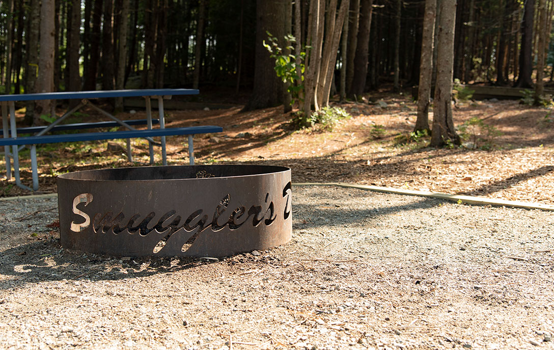 fire pit at campsite near acadia