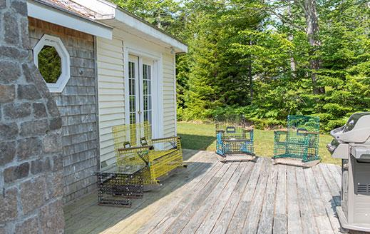 back deck of vacation rental on mount desert island