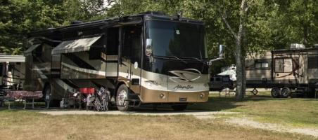 motorhome at campground near acadia