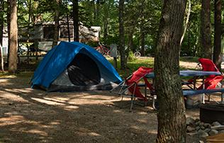 campsite with tent at smuggler's den campground