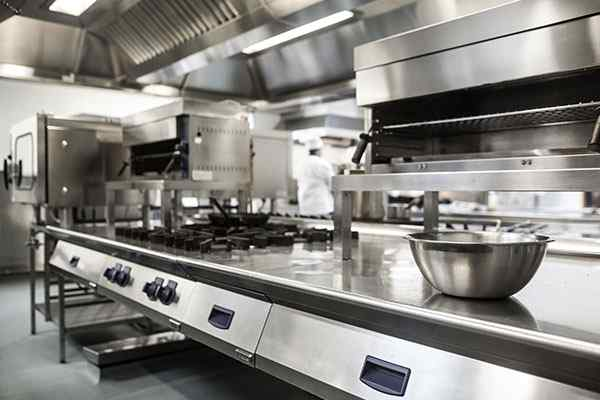 a sanitized commercial kitchen