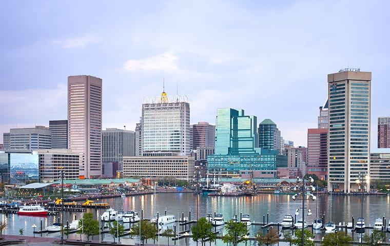 skyline view of baltimore maryland and inner harbor