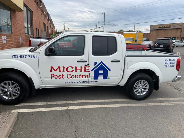 White Miche Pest Control truck in Manassas VA