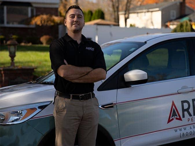 pest control tech after performing a pest control service in new jersey