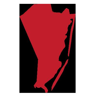 ocean county, nj map outline