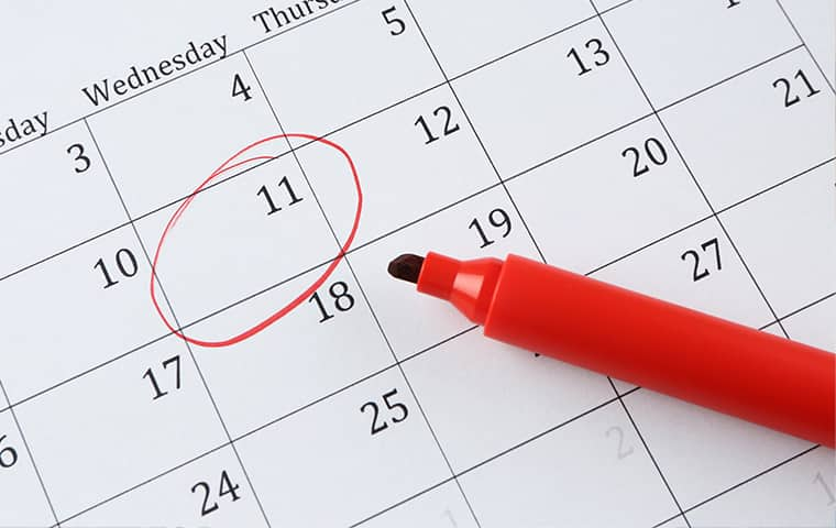 red marker resting on a calendar marking the day for pests to be treated