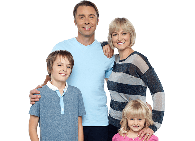 a young family of three that are smiling because they called dancan