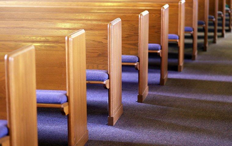 church bews in a country church