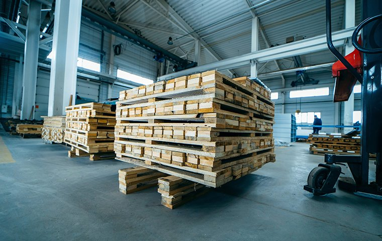lumber stacked up in a warehouse