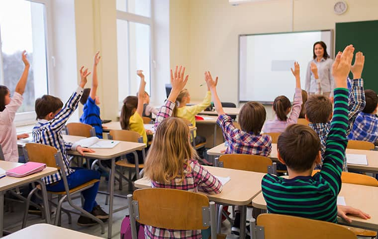 children  raising their hands in a classroom serviced by pest control consultants in dixon illinois