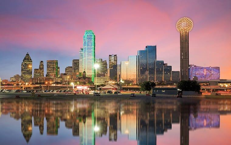 skyline view of dallas texas as seen from the river