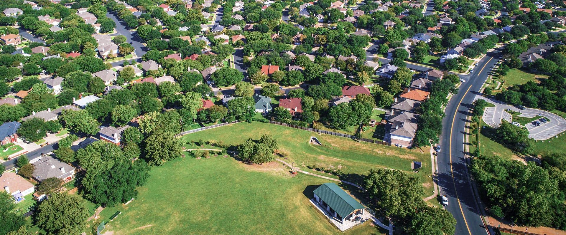 overhead view of a neighborhood in dallas texas