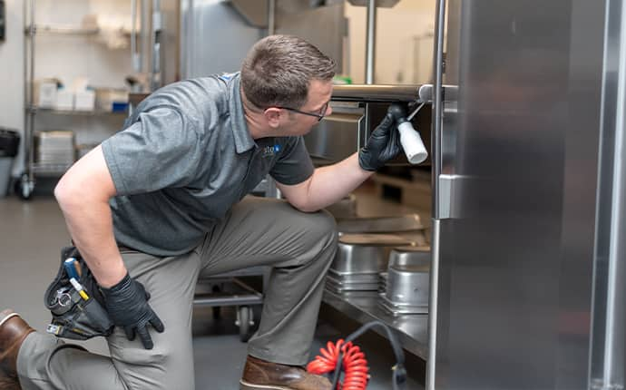 prosite pest control service expert using integrated pest management services inside of a washington commercial kitchen
