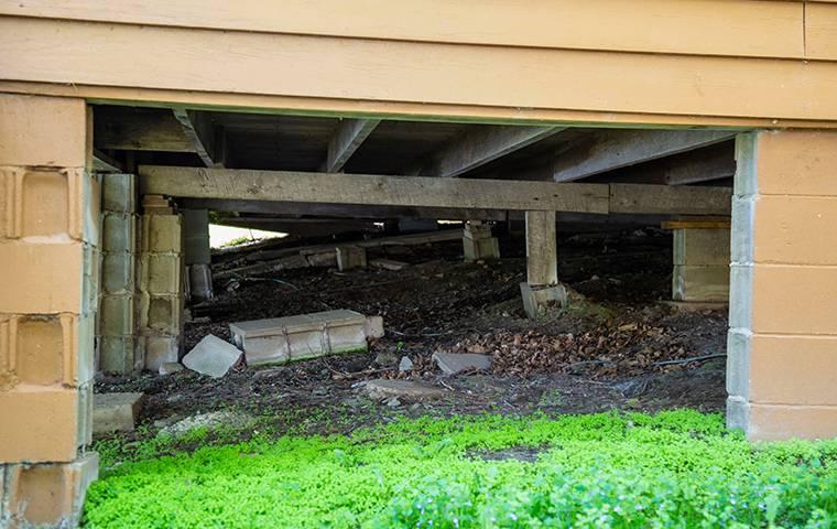 a crawlspace underneath a house