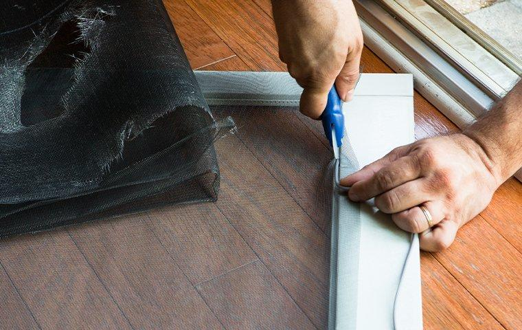 homeowner fixing window screen
