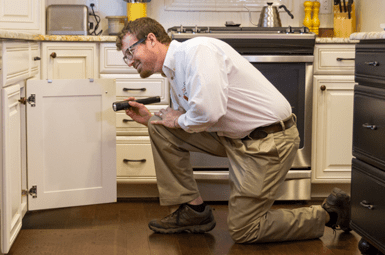 technician inspecting denton home