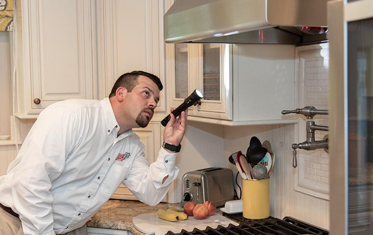 tech inspecting kitchen stove in home