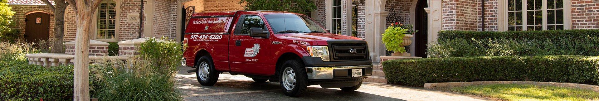 adams pest control's truck in fairview tx