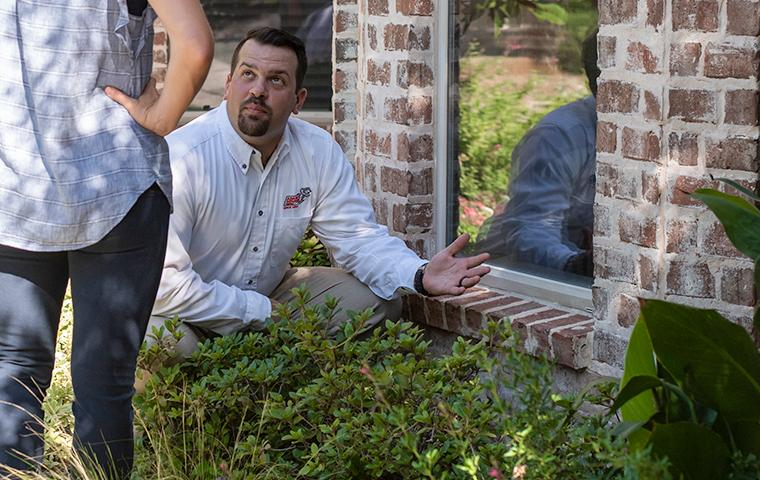 adams tech and homeowner inspecting for termite sign